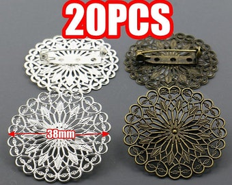 20 Filigree Brooch Base- Brass Antique Bronze/ Silver Plated 38mm Round Filigree Floral Base Setting W/ Safety Pin Brooch Wholesale Brooches