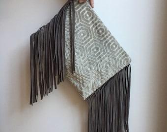 leather fringe purse, boho clutch bag, tribal fringe wristlet, gray