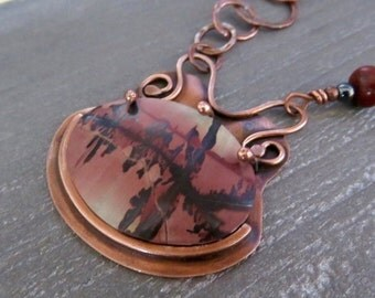 Indian Paint Stone Pendant - Picture Jasper Necklace - Wire Wrapped Pendant - Handmade Necklace - Holiday Gift Idea - Christmas Gift For Her