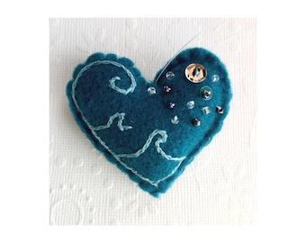 Felt embroidered Heart Ornament