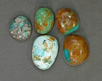 Turquoise cabochons lot Kingman and assorted mines,  B-150