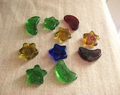 Colored Glass Star & Moon Shapes Craft Supply / Colored Glass for Stepping Stones or Mosaic / DeStash Craft Supply