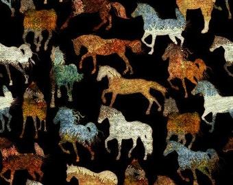 Quilting Treasures Unbridled Horses Black fabric - 1 yard