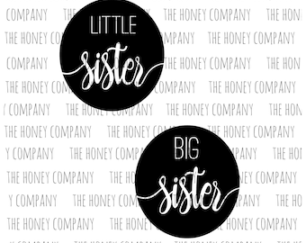 Little Sister Big Sister SVG PNG DXF Instant Download Silhouette Cricut Cut File Vector File