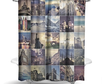 "Travel Shower Curtain/Paris, New York, Photography Print / Bath Curtain/ Standard Size (71""x74"") FABRIC SHOWER CURTAIN - Made To Order"