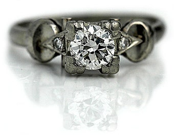 Platinum Engagement Ring Non Traditional 1940s Wedding Ring .64ctw European Cut Diamond Vintage Unique Engagement Ring Antique Wedding Ring!