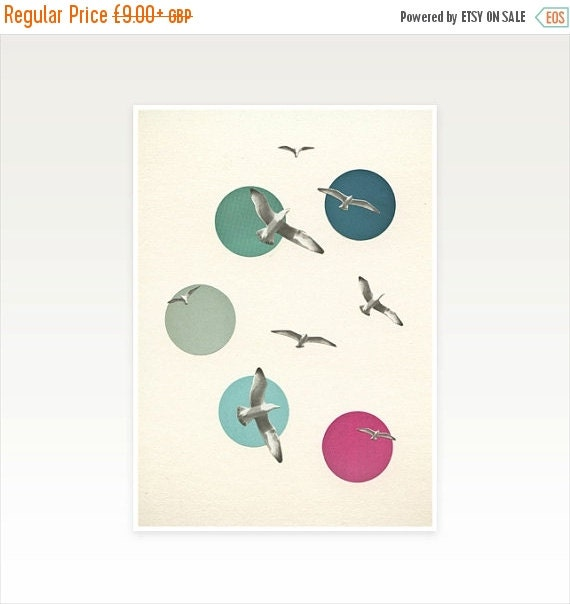 SALE 20% OFF Bird Art Print, Coastal Decor, Seaside Print, Blue and Pink Decor - Circling