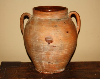Antique Country Primitive Ovoid Redware Pot; 19th Century 2-Handled Folk Pottery Vessel, Jar