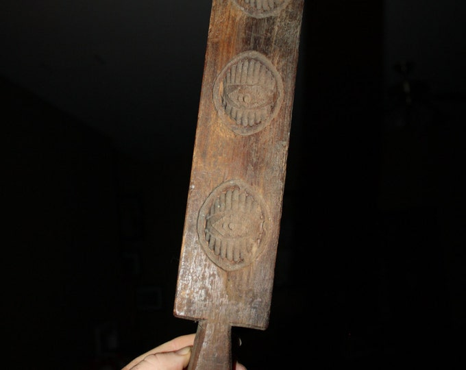 Antique Carved Wooden Maple Sugar Butter Mold; 19th Century Primitive, Untouched Patina, Rustic