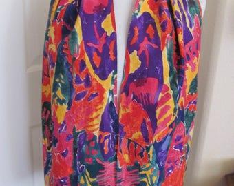 "Beautiful Colorful Soft Silk Scarf // 11"" x 58"" Long"
