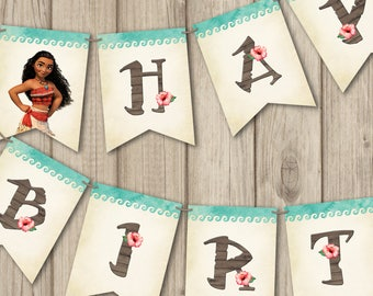 MOANA BIRTHDAY BANNER, Moana Banner Happy Birthday, Moana Invitation, Moana Birthday Decoration, Printable Moana Birthday Banner