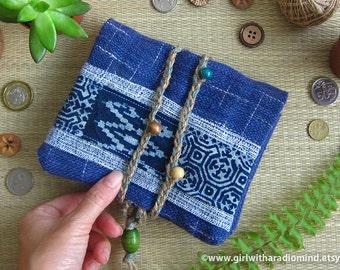 Indigo Hmong Tribe Blue Purse Passport Travel Size Wallet - Navy Blue Batik