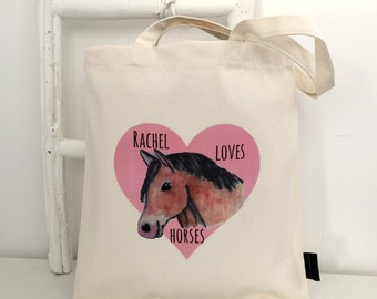 Loves Horses | Personalised Bag | Horse Lover Gift | Horse Bag | Gift For Horse Lover | Horse Gifts