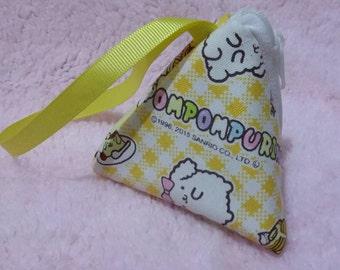Original sanrio fabric triangle coin purse with wrist strap - handmade
