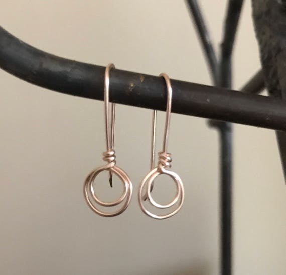 Small circle earrings, rose gold, copper, or sterling silver,  wire, simple, petite, hoop, two circles