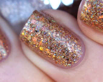 """Nail polish - """"Courtly Love""""  Copper and iridescent glitter in a clear base"""