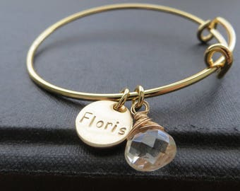 Personalized bangle bracelet, nameplate birthstone charm, full name hand stamped, gift for bridesmaid