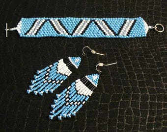Native American Inspired Peyote Stitch Bead Woven Bracelet and Earring Set