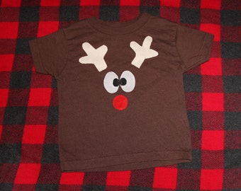 READY TO SHIP 5/6 reindeer short sleeve shirt with tail on the back