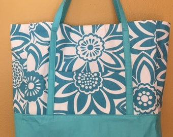 Cher#1632, Large Tote, Beach Bag, Knitting Bag, Summer Tote, Totes, Bags, Turquoise Bag, Large Purse, Diaper Bag, Project Bag, Bags, Totes,