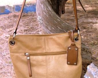 GORGEOUS  TIGNANELLO Saddle Tan Quality Pebble Leather Shoulder Cross Body Bucket Bag TRAVEL Bag  Fabulous Condition