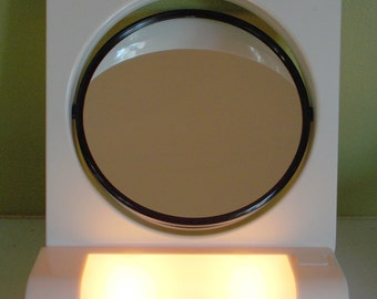 "Cosmetic Makeup Lighted Stand 6"" Travel Mirror, Swivel, Magnifying, NOS  FREE SHIPPING!!!"