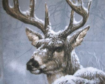 Deer in Snow with Brown Fleece Blanket - Ready to Ship Now