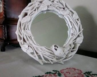 Vintage White Shabby Chic Songbird Mirror - Round Mirror - Vanity Mirror - White Bedroom Decor Mirror - Small Bird Mirror - Bobann23 Home