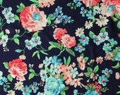 Navy Blue Coral Aqua and Green Floral Brushed Poly Spandex Knit, 1 yard