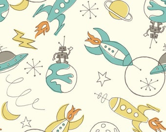 Aqua Blue Yellow and Grey Space Organic Cotton Double Gauze For Birch Fabrics, 1 Yard