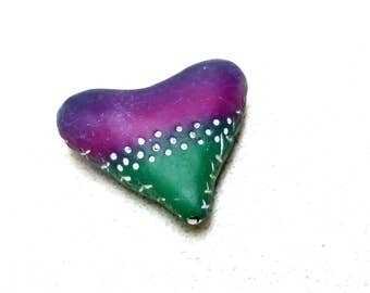 Rustic Blue, Purple and Green heart bead, Hand Textured Heart Bead, Artisan Heart Bead, Handmade Heart Beads, Hollow Polymer Clay Beads