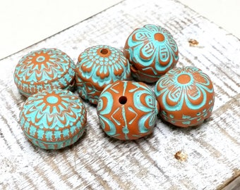 Orange with turquoise accent Stamped Bead Set for Jewelry Making, Artisan Hollow Polymer Clay Beads, Textured Rustic Tribal Style Beads