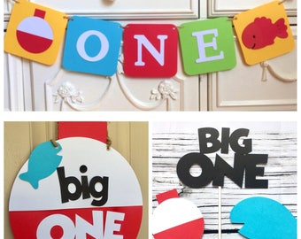 The Big One Fishing Birthday Package Sign Highchair banner Bobber Fish Theme Decor Bright colors Little Fisherman Smash cake Photo Prop