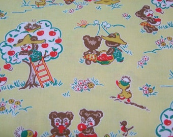 Yellow Apple Bear Fabric by the Yard Elea Lutz Riley Blake  Apple Farm