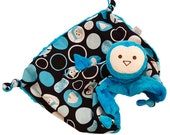 Penguin Baby Blanket, Lovey Blanket, Baby Blankie, Dark Turqouise Security Blanket with Penguins, Soft Toy, Penguin Stuffed Animal, Baby Boy