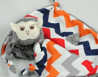 """Reserved for a Great Customer, (2) 12"""" Gray Minky Owl Security Blankets with Red, Orange, and Blue Chevron Cotton Fabric"""