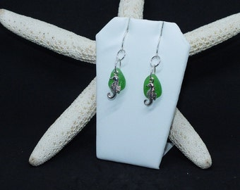 Sterling Seaglass Earrings - Lake Erie Jewelry - Beach Glass Earrings - Seahorse Earrings - FREE Shipping inside the United States