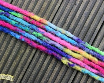 All Sorts SE x6 Crochet Synthetic dreads - blue purple pink yellow green
