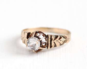 Antique Victorian 10k Rose Gold Rock Crystal Quartz Ring - Vintage Size 7 1/2 Edwardian 1900s Colorless Clear Gemstone Fine Jewelry