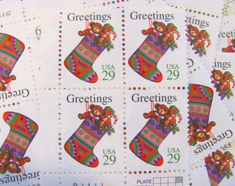 Christmas Stocking 20 UNused Vintage Postage Stamps 29c Contemporary Candy Cane XMas Seasons Greetings Happy Holidays Save the Date Toys