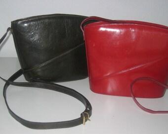 Purse Leather Shoulder Red Vtg Retro Exceptional Adjustable Strap