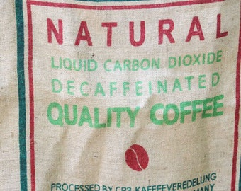 Vintage Burlap Coffee Bag, Natural Decaffeinated Quality Coffee , Heavy Weight Jute Woven Coffee bag