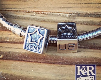 Army charm Army bead fits Pandora bracelet US Army bead Sterling Silver
