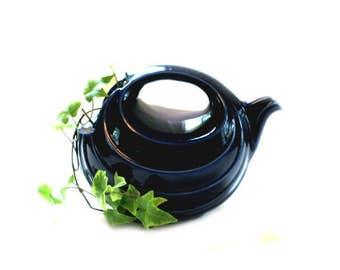 Hall China Vintage Deco Cobalt Rhythm Teapot