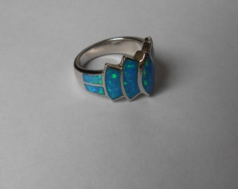 Vintage 70s Silver Ring set with Multiple Black Opals--Modernist Design-For Repair Size 7