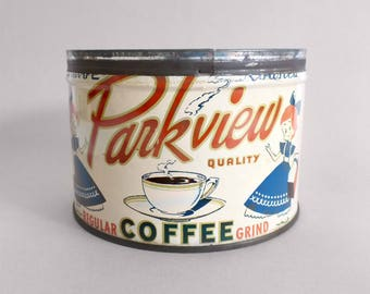 Antique Parkview Key Wind Coffee Can, American Can Company