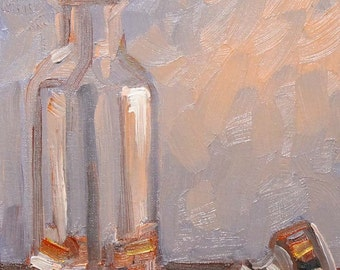 Glass Stopper, 9x12 inch oil on canvas panel by Kenney Mencher