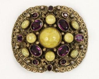 art nouveau buckle • turriet und bardach chartreuse & amythest purple