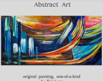 "Original Texture wall Art abstract painting huge Impasto brushwork oil painting on gallery wrap linen canvas Home Decor by Tim Lam 48"" x 24"""