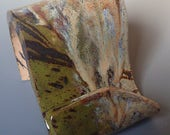 Business Card Holder Cellphone Holder in Copper, Olive and Ivory